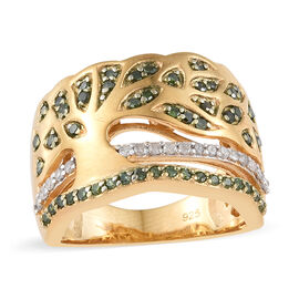 Green Diamond (Rnd), White Diamond Tree of Life Ring in 14K Gold Overlay Sterling Silver 0.500 Ct, Silver wt 6.92 Gms.