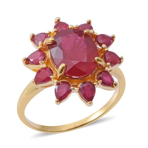 African Ruby (Ovl 5.00 Ct) Flower Ring in 14K Gold Overlay Sterling Silver 7.250 Ct.