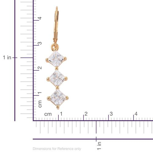 J Francis - 14K Gold Overlay Sterling Silver (Princess) Lever Back Earrings Made with SWAROVSKI ZIRCONIA