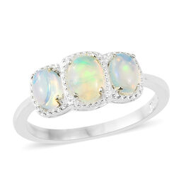 1 Carat Ethiopian Welo Opal 3 Stone Ring in Platinum Plated Silver