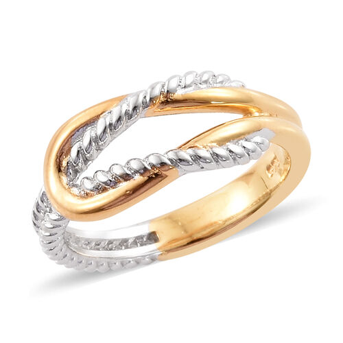Platinum and Yellow Gold Overlay Sterling Silver Knot Ring, Silver wt 3.00 Gms.