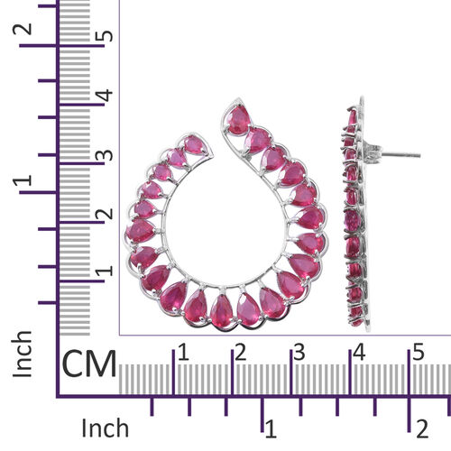 African Ruby (Pear) Earrings (with Push Back) in Rhodium Overlay Sterling Silver 19.250 Ct, Silver wt 7.80 Gms.