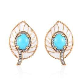 2 Carat Arizona Sleeping Beauty Turquoise Enamelled Leaf Stud Earrings in Gold Plated Silver