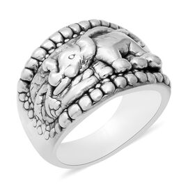 Close Out Deal- Sterling Silver Elephant Band Ring (Size Q), Silver wt 5.00 Gms.