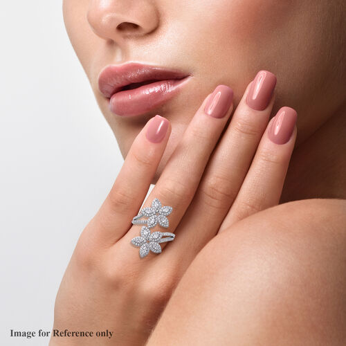 ELANZA Simulated Diamond Floral Bypass Ring in Rhodium Overlay Sterling Silver, Silver wt 3.50 Gms