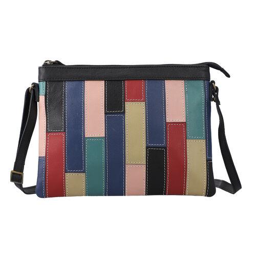 100% Genuine Leather Sling Bag with Shoulder Strap (Strap Size:115cm, Bag Size:26x20 CM) - Black and