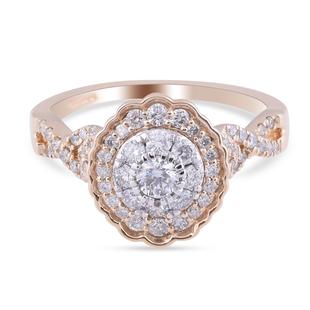 14K Yellow Gold Diamond (I1/I2-G-H) Cluster Ring 0.75 Ct.