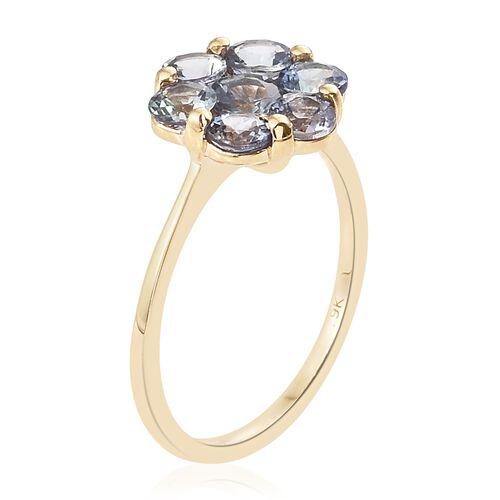2 Carat AA Natural Green Tanzanite 7 Stone Floral Ring in 9K Gold