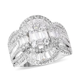 Simulated White Diamond (Rnd and Bgt) Ring (Size V) in Silver Plated