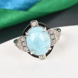 GP- Larimar, Natural Cambodian Zircon and Blue Sapphire Enamelled Ring in Platinum Overlay Sterling Silver 3.76 Ct.
