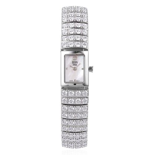 EON 1962 Japanese Miyota Movement Simulated Diamond Studded  3ATM Water Resistant Watch with Sapphire Glass in Rhodium Plated Sterling Silver and Stainless Steel, Silver wt. 36.00 Gms
