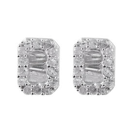 9K White Gold SGL Certified Diamond (I3/G-H) Stud Earrings (with Push Back) 0.33 Ct.