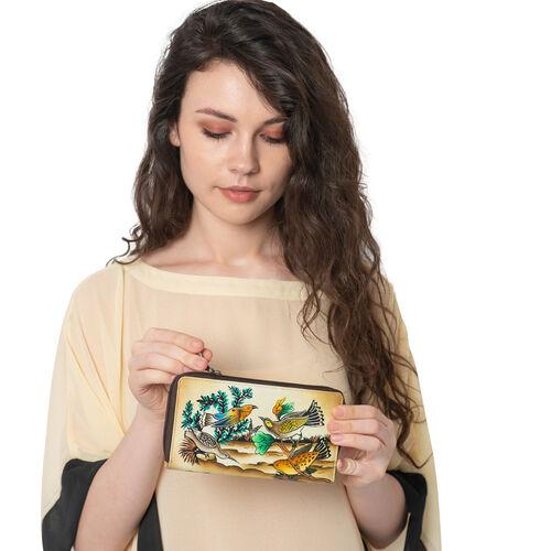 SUKRITI - 100% Genuine Leather Brown Colour Bird Handpainted Wallet with RFID Blocking (Size 18.5x10x2 Cm)