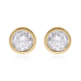 9K Y Gold SGL Certified Diamond (I3/G-H) (Rnd) Stud Earrings (with Push Back) 0.250 Ct.