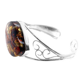 Natural Baltic Amber Bangle (Size 7) in Sterling Silver, Silver wt 20.96 Gms