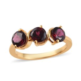 Rhodolite Garnet (Rnd) Trilogy Ring in 14K Gold Overlay Sterling Silver 1.650 Ct.