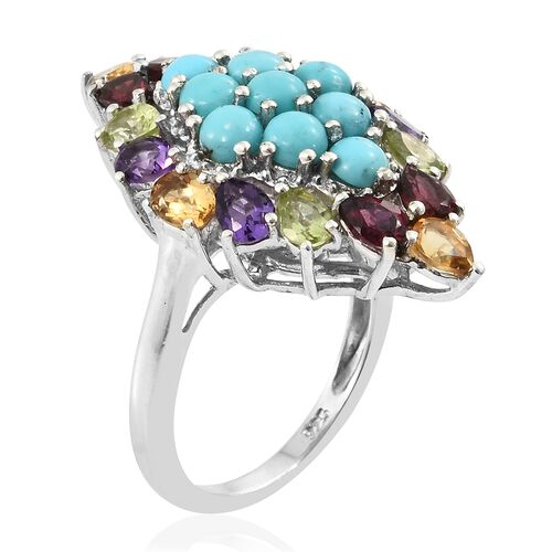 Arizona Sleeping Beauty Turquoise (Rnd), Rhodolite Garnet, Hebei Peridot, Amethyst and Citrine Ring in Platinum Overlay Sterling Silver 4.250 Ct.