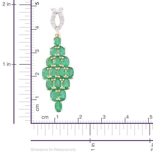 9K Yellow Gold AAA Kagem Zambian Emerald (Ovl), Natural White Cambodian Zircon Pendant 4.250 Ct.