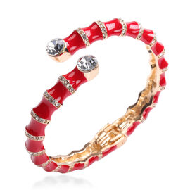White Austrian Crystal, Red Enamelled Cuff Bangle (Size 7)