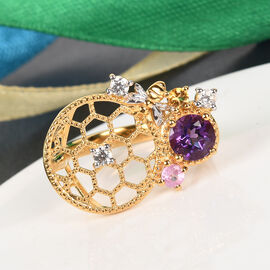 GP Itallian Garden Leaf and Flower - Amethyst, Pink Sapphire and Multi Gemstone Ring in 14K Gold Overlay Sterling Silver