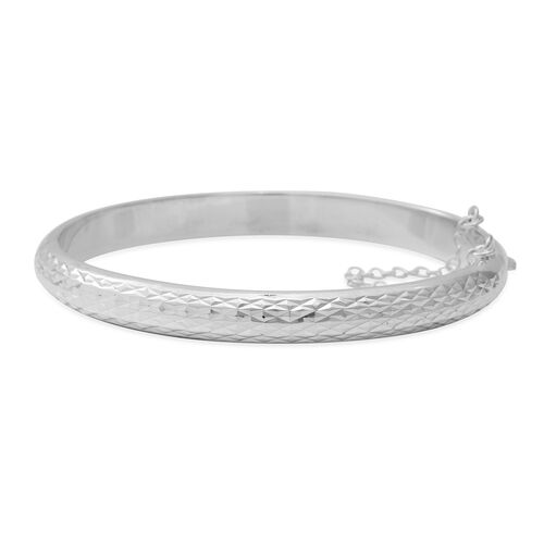 Diamond Cut Bangle in Sterling Silver 7.5 Inch