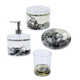 Set of 4 - Bathroom Set with Shungite (Includes Shampoo Dispenser, Toothbrush Holder, Tumbler and So