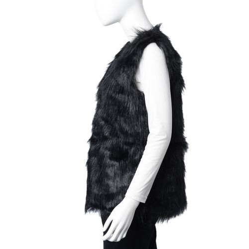 Black Colour Faux Fur Gilet (One Size Fits all)