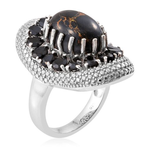 Arizona Mojave Black Turquoise (Ovl 4.50 Ct), Boi Ploi Black Spinel Ring in Platinum Overlay Sterling Silver 8.000 Ct.