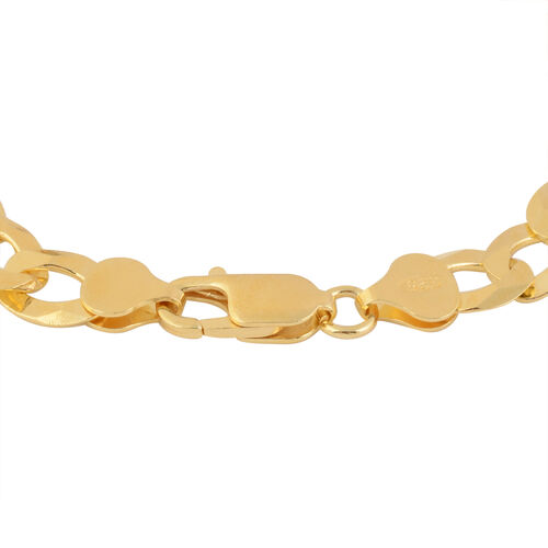 Italian Made Close Out-  14K Gold Overlay Sterling Silver Figaro Bracelet (Size 8.5) Silver Wt 13.30 Grams