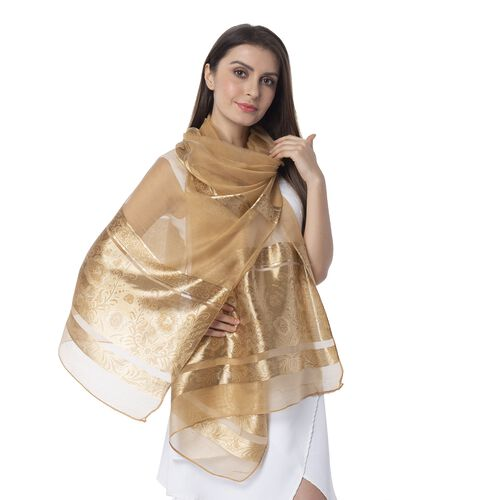 Camel Colour Shiny Plum Blossom Pattern with Golden Colour Strip Scarf (Size 190x75 Cm)