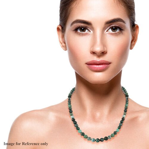 Zambian Emerald Beaded Necklace (Size 20) in Platinum Overlay Sterling Silver 245 Ct.