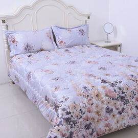 4 Piece Set - Serenity Night Lavender Floral Print Comforter (220x225cm), Fitted Sheet (150X200+30CM
