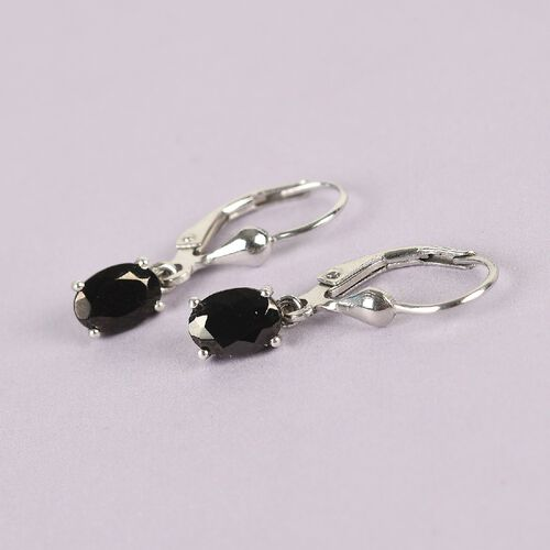 Elite Shungite Solitaire Lever Back Earrings in Platinum Overlay Sterling Silver 1.00 Ct.