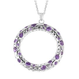 RACHEL GALLEY Amethyst (Ovl and Rnd) Pendant With Chain (Size 30) in Rhodium Overlay Sterling Silver