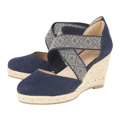 Lotus Navy Zade Wedge Sandals (Size 4)