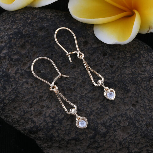 Royal Bali Collection 9K Yellow Gold Signity Zircon (Rnd) Hook Earrings