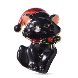 Christmas Red and Green Austrian Crystal Cat Enamelled Brooch in Yellow Gold Tone