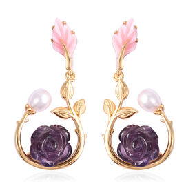Jardin Collection Amethyst and Multi Gemstone Drop Floral Earrings in Gold Plated Sterling Silver