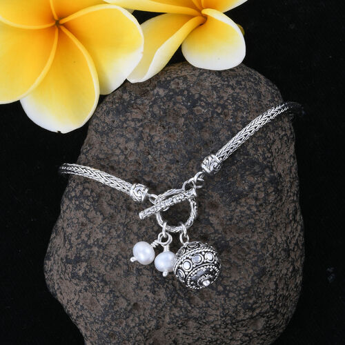 Royal Bali Collection- Fresh Water Pearl Bracelet (Size 7.5) with Charms in Sterling Silver, Silver wt 11.21 Gms.