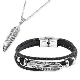 Leaf Charm Pendant with Chain (Size 24) and Bracelet (Size 8) in Black Oxisided Stainless Steel.