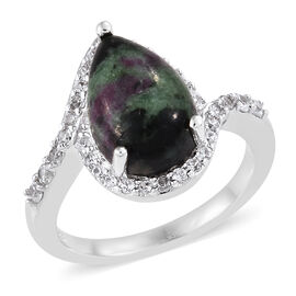 Ruby Zoisite (Pear 12x8 mm), Natural Cambodian Zircon Ring in Platinum Overlay Sterling Silver 5.00