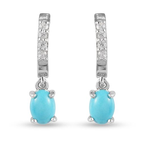 Arizona Sleeping Beauty Turquoise and Natural Cambodian Zircon Hoop Earrings with Drop in Platinum O