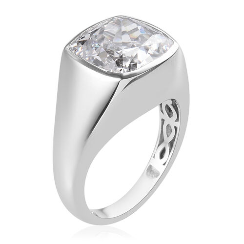 J Francis Platinum Overlay Sterling Silver Solitaire Ring Made with SWAROVSKI ZIRCONIA 15.35 Ct, Silver wt 6.35 Gms