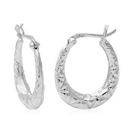 Sterling Silver Creole Hoop Earrings (with Clasp)