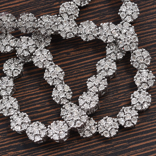 GP- Diamond 2.ct (Rnd), Blue Sapphire Floral Necklace (Size 18) in Platinum Overlay Sterling Silver
