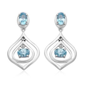 Ratanakiri Blue Zircon Dangle Earrings in Rhodium Overlay Sterling Silver 2.88 Ct