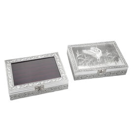 set of 2 handcrafted black faux velvety mini aluminum Butterfly engraved Storage boxes with transparent and lion lids