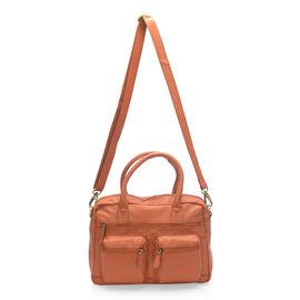 Super Soft 100% Genuine Leather Orange Colour Satchel Shoulder Bag with Multi Pockets (Size 32x23x9.5 Cm)