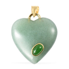 24.50 Ct Green Aventurine and Green Jade Heart Pendant in Gold Plated Sterling Silver
