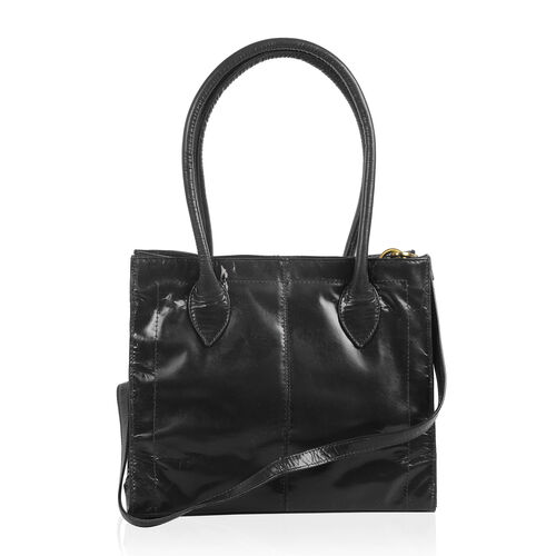 Premium Collection Genuine High Glossed Leather RFID Blocker Classic Black Large Tote Bag (Size 31.5X26X12 Cm)